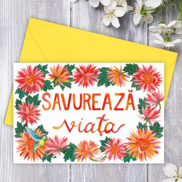 Felicitare flori si mesaj pozitiv