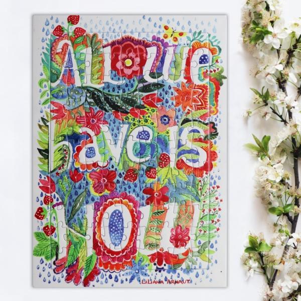 puzzle colorat cu mesaj