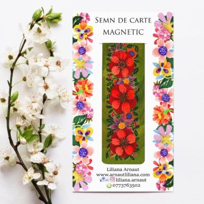 semn de carte magnetic cu flori si mesaj pozitiv de Radu Gyr