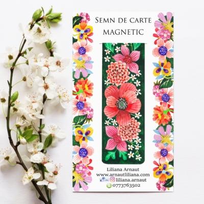 Semn de carte magnetic cu flori si mesaj motivational de catre parintele Arsenie Boca.