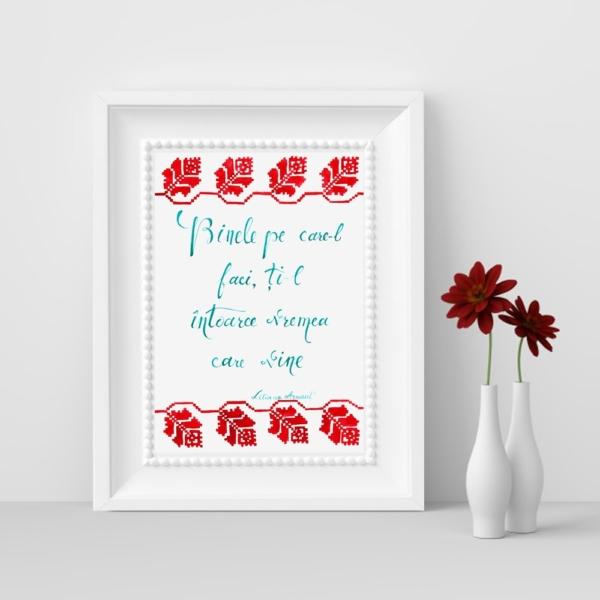 Tablou cu mesaj si flori