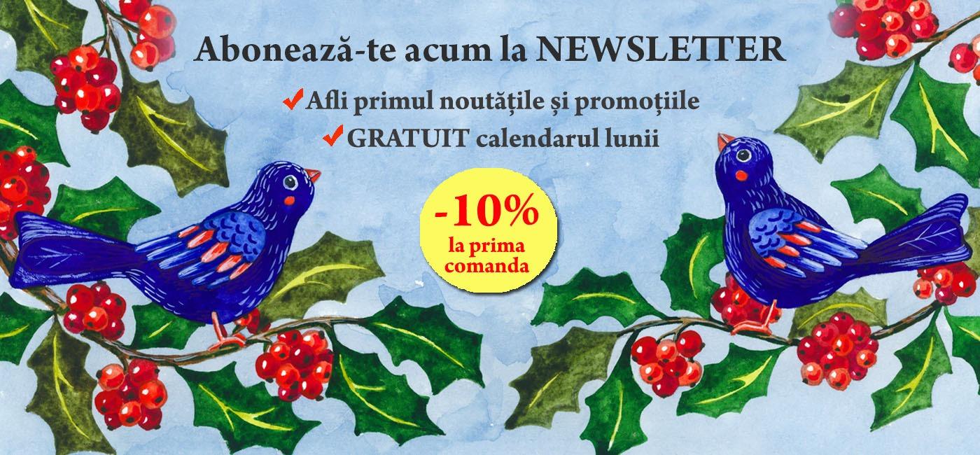 Aboneaza-te acum la newsletter, Afli primul noutatile si promotiile, gratuit calendarul lunii.