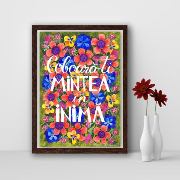 tablou cu flori si mesaj