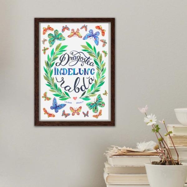 tablou mesaj si flori