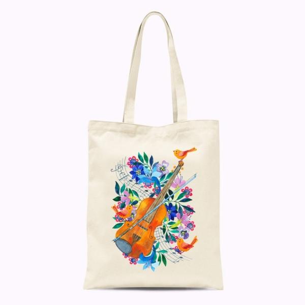 sacosa cu vioara si flori