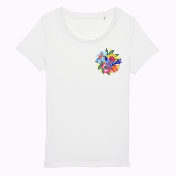 tricou cu flori colorate